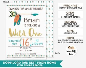 Editable Wild One Birthday Invitation, Instant Download Editable Wild One Birthday Invitation, Editable Wild One Birthday Invitation