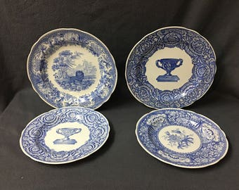set of 4 spode blue room collection plates warwick vase aesopu0027s fables floral