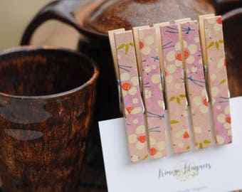 Japanese Peg/Clothespin Magnets - clips - set of 5 or 10 - Handmade with Japanese finest Yuzen washi origami paper - gift for her