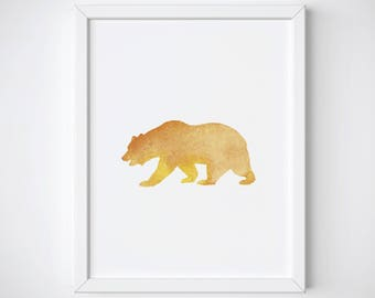 Bear Watercolor Nursery Print, Bear Watercolor Nursery Wall Art, Woodland Nursery Art Print, Animal Nursery Print, Animal Watercolor Print