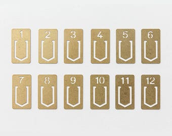 TRAVELER'S COMPANY - Brass Clips (Numbers) | Traveler's Factory | midori Travelers notebook | planner accessories