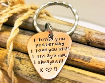 Valentine' Day for Husband, Guitar Pick Key Chain,  Gift for Boyfriend, Gift for Fiance, Personalized, Anniversary Gift for Him