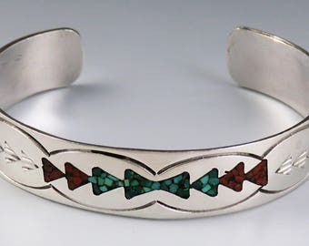 1950's Southwest American Indian Sterling Silver Turquoise & Coral Bracelet