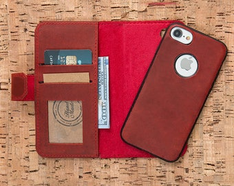 Red Leather iPhone 6S Plus Case, iPhone 6 Case, iPhone 6 Plus Wallet, iPhone 6S Leather Case, Leather iPhone 6 Plus Case, iPhone 6S Case-RED