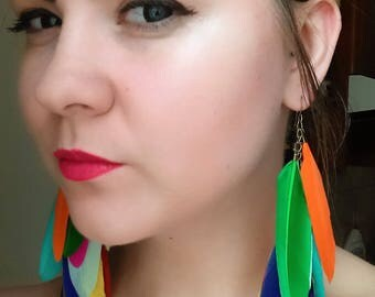 earrings, feathers bohoo elegant color summer