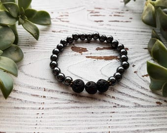 Essential oil bracelet, aromatherapy bracelet, lava stone bracelet, hematite bracelet, essential oil jewelry for women, diffuser bracelet