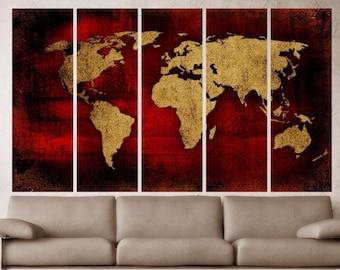 Rustic world map  Etsy