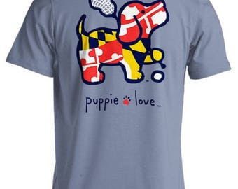 Puppie Love Brand LaX Pup Stone Blue Cotton Short Sleeve T Shirt