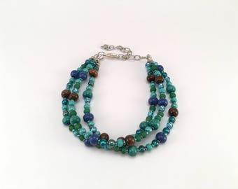 Beach Jewelry, Bracelet, Beaded Jewelry, Statement Piece, Blue Bracelet, Boho Jewelry, Gift, Gift for Her, Gift for Mom, Blue, Green