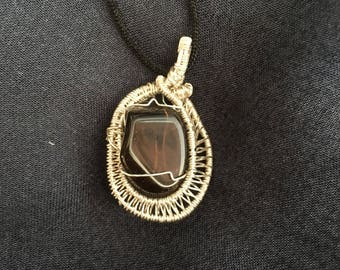 Smoky Quartz Necklace Wire Wrapped Crystal Pendant