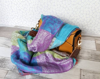 Gorgeous paisley multi colour replacement bag strap, soft, delicate patterned scarf, across the shoulder strap upcycled scarf