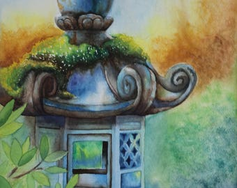 Stone Lantern in the Garden Watercolor