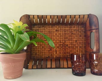 Vintage Bamboo Woven Tray with Handles / Bohemian Tray