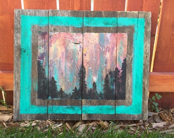 Reclaimed wood art forest painting