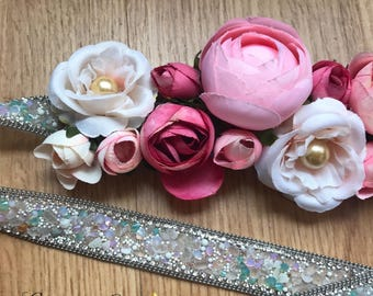 Cozy Rosy flower sash