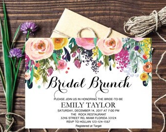 Bridal Brunch Invitation, Watercolor bridal invite, Floral Bridal Shower Card, Instant Digital Download File, Flower Bride DIY, Brunch 09