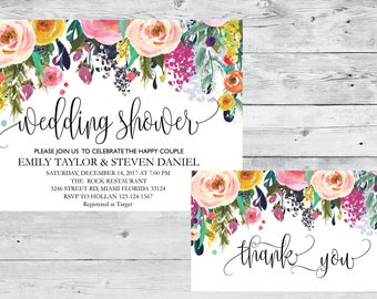 Wedding Shower Invitation, Fall Floral Bridal Shower Card, Couples Shower Invite, Fun wedding program, Instant Download, Decor, Signs, WS 08