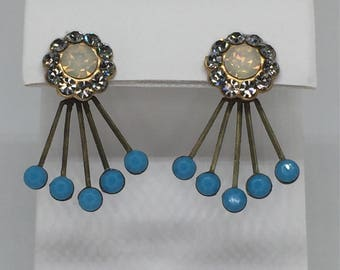 Art Deco Style Ear Jackets with Blue Crystals, Paired with Pastel Crystal Sunflower Stud