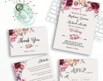 Wedding Invitation Suite Printable Floral Digital Wedding Marsala Burgundy Vintage Romantic  Invitation Bohemian Wedding Invite WS-030