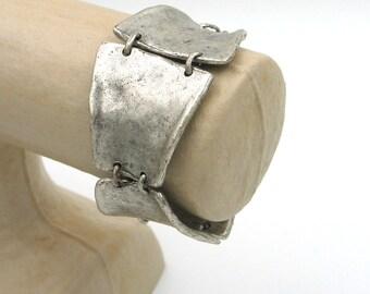 Ethnic style bracelet, silver plated,  big bracelet, monalisa