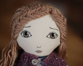 Handmade cloth doll, OOAK doll, fabric doll, Hanolky cloth doll, embroidered face, heirloom doll, knitted sweater