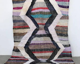 Vintage Kilim Moroccan Flat Weave Rug