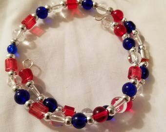 Red, Blue, & Clear White Wrap Bracelet, Glass beads, Nickel-free Memory Wire. BR12
