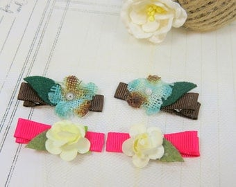 Schoolgirl Pigtail Clip - Chocolate Brown Pigtail Clip - Pigtail Clip - Flower Pigtail Clips - Barrettes - Birthday Gift - Pink Pigtail Clip