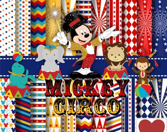 Circus Mickey Digital Paper Kit Digital Mickey Circo