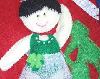 Ballerina Christmas Stocking green