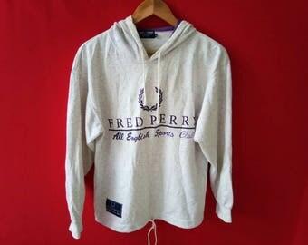 vintage fred perry big logo sweatshirt hoodie medium mens size