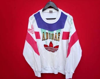 vintage adidas big logo multicolour sweatshirt medium mens size