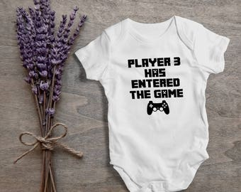 Player 3 has entered the game,playstation,funny baby bodysuit,one piece,humor,new born,cute,burp,outfit,game onesies,baby shower gift,cute