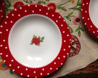 6 plates vintage soup summer 70s was cherry holiday family liminarc French ceramic
