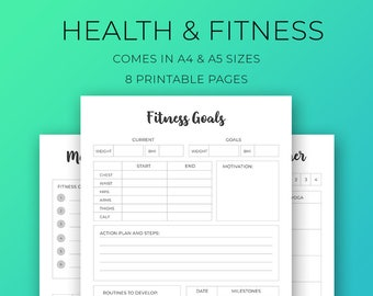 Fitness Planner Printable, Workout Planner, Planner Inserts, A4, A5, Supplements, Food Log, Meal Planner, Workout planner, Weight Loss Plan