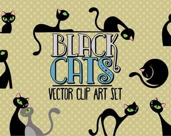 Black cats/Elegant cats/Clip art set/Cat illustration/Design elements/Printable illustration/Halloween design element
