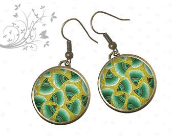 Earrings cabochons geometry green feathers, style 1970's