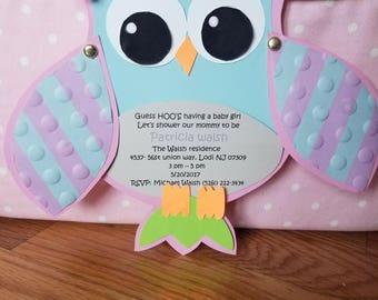 owl invitation handmade owl invitation babyshower owl invitation owl birthday invitation