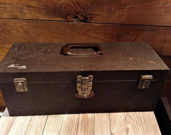 Vintage Kennedy Tool Box S19, Metal Tool Box with Tray, Kennedy Kits Portable Tool Box & Tray, Brown Crinkle, Signed, Kennedy Toolbox 1960s