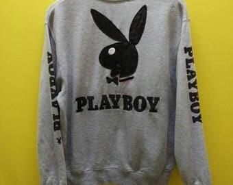 Vintage Playboy Big Logo Black Embroidery Sweatshirt Rare