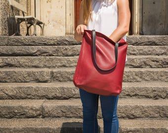 Large leather tote bag - Oxblood leather tote - Full grain leather tote - Tote bag leather - Tote bag - Leather Bag - VERONA Bag
