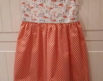Girls flamingos & spot summer dress 2-3 years