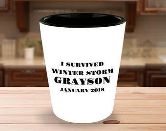 I Survived Winter Storm Grayson January 2018 - 1.5 oz Ceramic Shot Glass- White on the Outside - Black on the Inside - Unique gift idea!