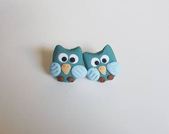 Adorable Owl earrings - Handmade from polymer clay