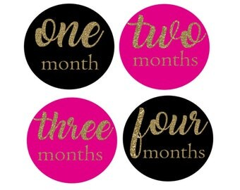 Black and Pink Monthly Stickers