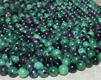 6mm Full Strand Natural Ruby Zoisite Gemstone Round 6mm Loose Beads 15.5 inch Full Strand, Ruby Zoisite, Natural Ruby Zoisite Beads
