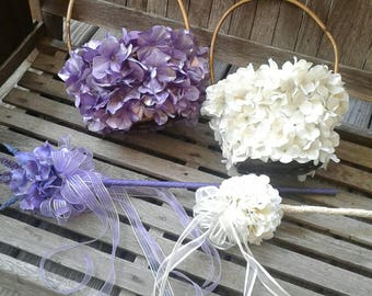 Flower Girl Basket Covered with Hydrangea Petals, Can Be Customized, Shown With Matching Wands (also available in separate listing)