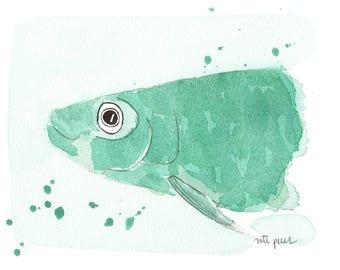 Sardine green. Original watercolor