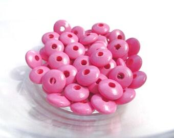 50 wooden flat pacifier - dark pink beads