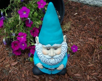 Gnomes,Yard and Garden Decor,Large Gnome ,Teal Gnome,Fairy Garden,Flower Garden,Yard Art,Statue